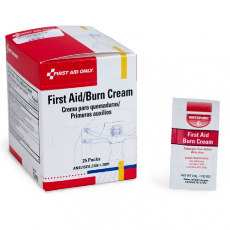 First aid/burn cream, .9 gm pack - 25 per box