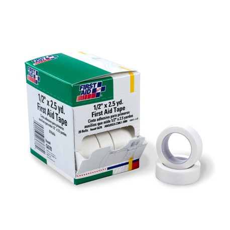 "1/2""x2.5 yd. First aid tape roll - 20 per box"