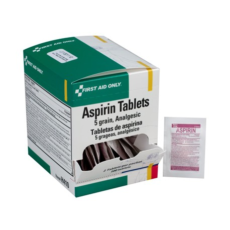 Aspirin, 5 grain tablets, 2 per pack - 100 per box