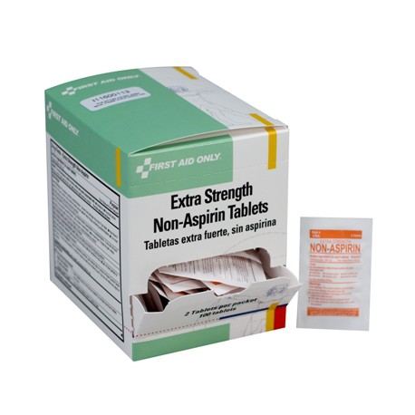 Extra-strength non-aspirin tablets, 2 per pack - 100 per box