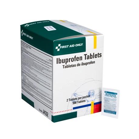 Ibuprofen tablets, 2 per pack - 500 per box/Case of 10 $21.17 each