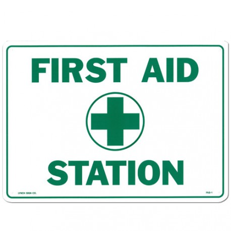 "17""x10"" Plastic First Aid Station sign"