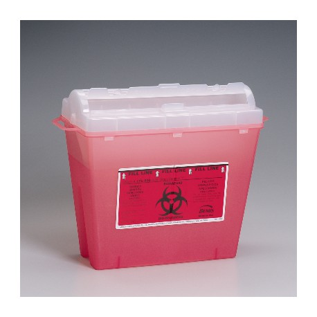 5 qt. Sharps container, red