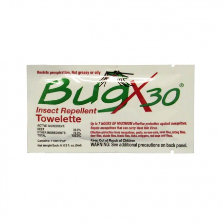 30% Deet insect repellent foil pack towelette - 1 each