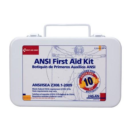 10 Unit ANSI First Aid Kit - metal