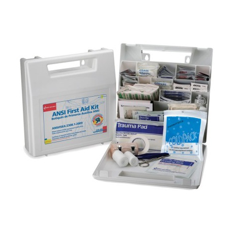 50 Person, Bulk First Aid Kit, Plastic, White, 196 Pieces